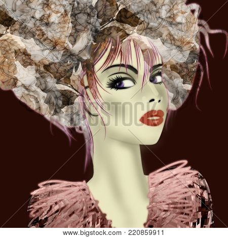 art monochrome warm pink and grey illustration with face of beautiful girl in profile with floral pattern afro funky curly hair, in party dress on black background in mixed media style