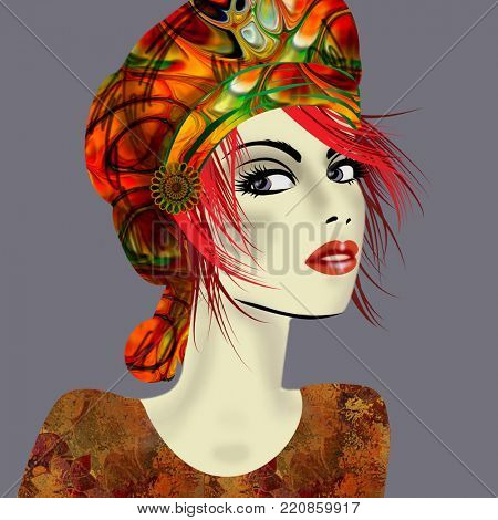 art colorful illustration with face of beautiful girl in profile with red, gold and orange hat and red short hair, in party flowers dress on lilac grey  background in mixed media style