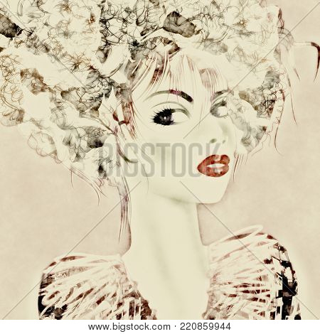 art monochrome brown and beige illustration with face of beautiful girl with floral curly hair, in party dress on grey background in graphic style