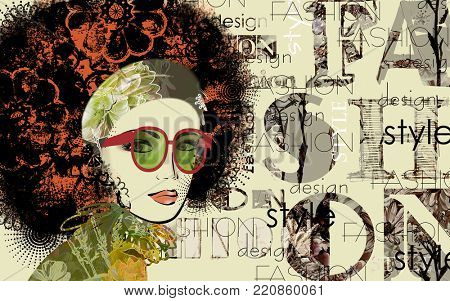 art colorful sketched beautiful girl face with glasses in mixed media style with red floral curly hair on sepia background with word fashion, style, model, design