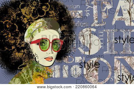 art colorful sketched beautiful girl face in mixed media style with floral curly hair on dark blue background with word fashion, style, model, design