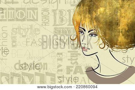 art colorful sketched beautiful girl face in mixed media style with gold curly hair on sepia background with word fashion, style, model, design