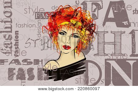 art colorful sketched beautiful girl face in mixed media style with red and gold floral curly hair on light lilac background with word fashion, style, model, design