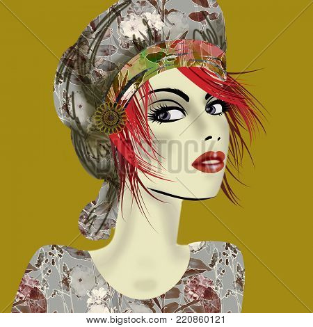 art colorful illustration with face of beautiful girl in profile with grey floral hat and red short hair, in party flowers dress on gold  background in mixed media style
