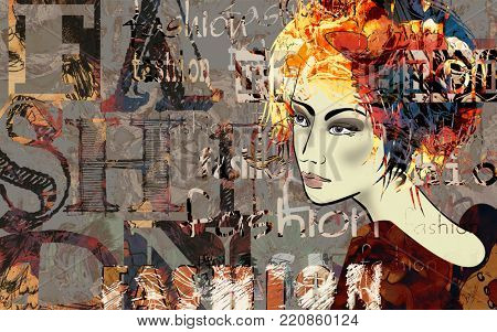 art colorful sketched beautiful girl face in mixed media style with red and black floral curly hair on dark grey background with word fashion, style, model, design