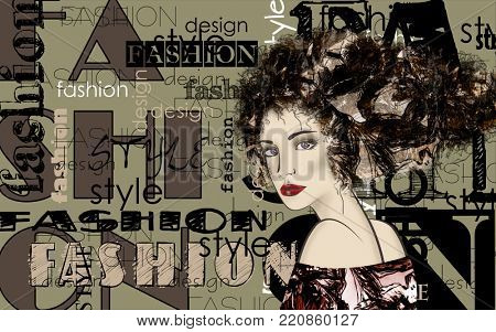 art colorful sketched beautiful girl face in mixed media style with floral curly hair on grey green background with word fashion, style, model, design
