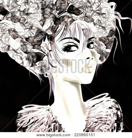 art monochrome black, grey, pink and white illustration with face of beautiful girl in profile with floral pattern afro funky curly hair, in party dress on black background in graphic
