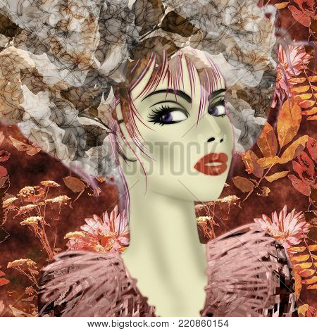 art colorful illustration with face of beautiful girl in profile with pink and grey floral pattern afro funky curly hair, in party dress on red autumn background in mixed media style