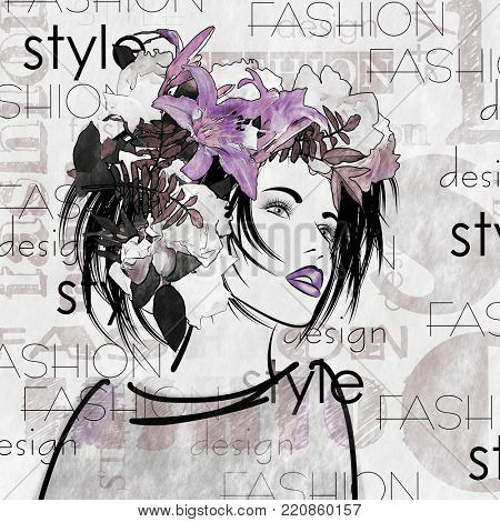 art monochrome and colorful sketched beautiful girl face in profile in mixed media style with lilac floral curly hair on white background with word fashion, style, model, design