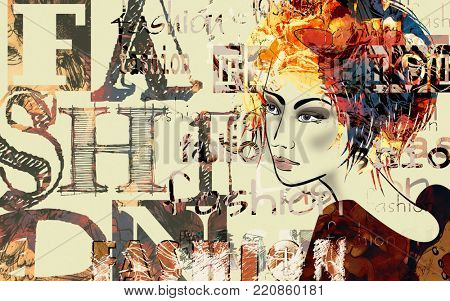 art colorful sketched beautiful girl face in mixed media style with red and black floral curly hair on sepia background with word fashion, style, model, design