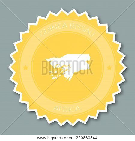Guinea-bissau Badge Flat Design. Round Flat Style Sticker Of Trendy Colors With Country Map And Name
