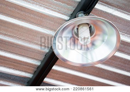 Image Of Ceiling Lamp Under The Roof With Heat Protecter Close Up.