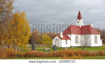 The church in Karasjok, the oldest Lutheran church in Finnmark region, Norway