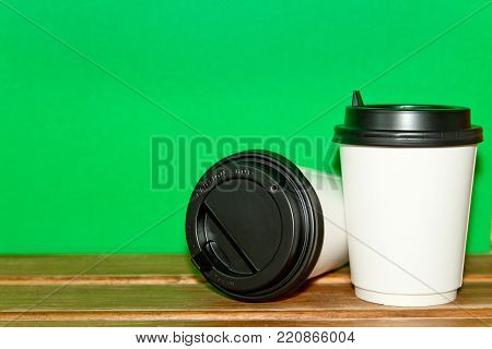 Morning Coffee For Couple In Love . Two Of Paper Coffee Cup For Hot Drinks On A Wooden Table And Yel