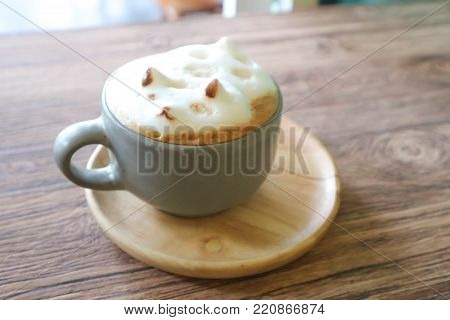 dog foam latte art or hot coffee or foam coffee or 3d coffee art