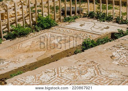 mosaic.Baalbek Ancient city in Lebanon.Heliopolis temple complex.near the border with Syria.remains