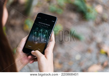 Chonburi, Thailand - November 19, 2017 : Apple Iphone 8 Plus Showing Touch Id Or Enter Passcode Scre