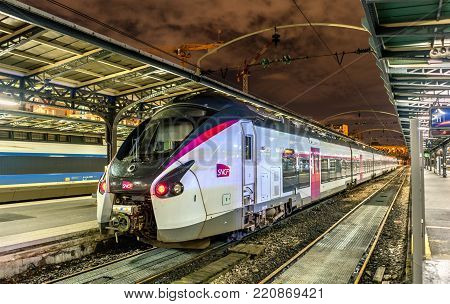 Paris, France - November 13, 2017: Coradia Liner Intercity train at Paris-Est station