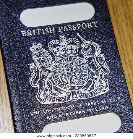 London, Uk: January 04, 2018: An Old Blue British Passport In A Vertical Format. The British Passpor