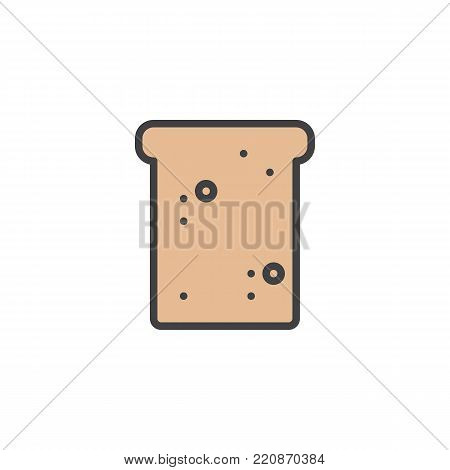 Toast bred filled outline icon, line vector sign, linear colorful pictogram isolated on white. Breakfast symbol, logo illustration. Pixel perfect vector graphics