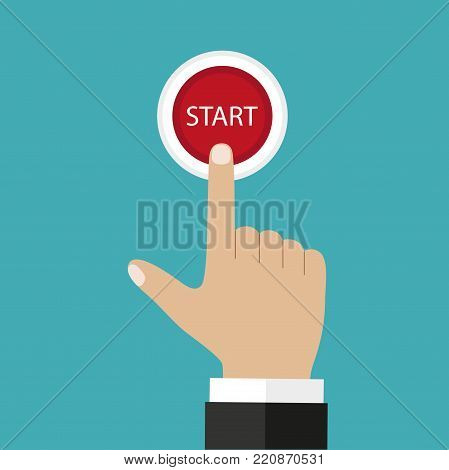 Businessman hand pressing start, just get started concept