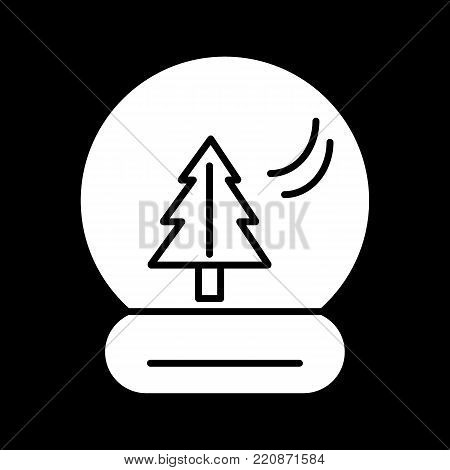 New Year's ball with a christmas tree. Vector icon. Linear magic ball isolated. Outline snow globe on black background