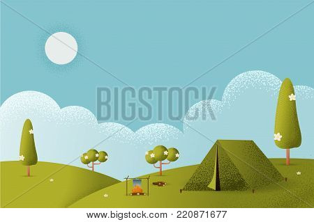 Nature summer landscape. Morning landscape in the mountains. Solitude in nature by the hill. Weekend in the tent. Hiking and camping. Vector texture style concept illustration.