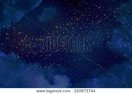 Magic night dark blue sky with sparkling stars. Gold glitter powder splash vector background. Golden scattered dust. Midnight milky way. Christmas winter texture with clouds.