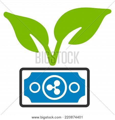 Ripple Eco Startup flat vector icon. An isolated ripple eco startup pictograph on a white background.