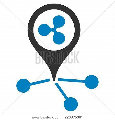 Ripple Location Links flat vector icon. An isolated ripple location links pictogram on a white background.