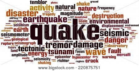 Quake word cloud concept. Vector illustration on white