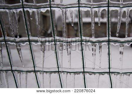 Wire Mesh Covered With Ice