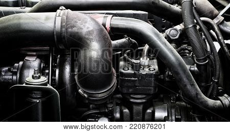 A Classic Fragment Of Diesel Car Engine Or Truck Engine With Copy Space For Text. Metallic Backgroun