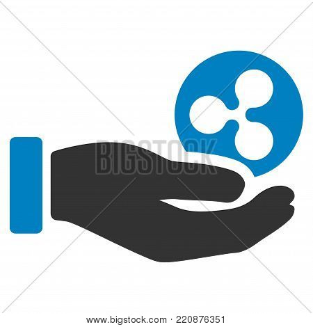 Hand Take Ripple flat vector icon. An isolated hand take ripple design element on a white background.