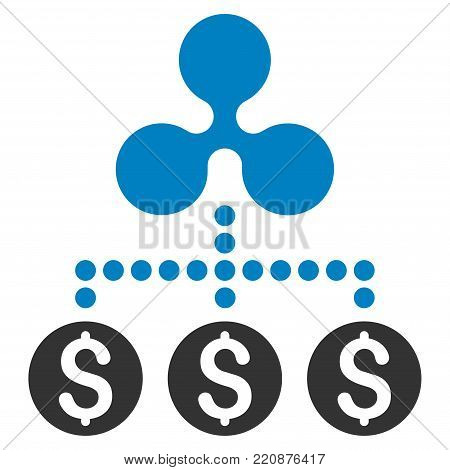Money Ripple Relations flat vector icon. An isolated money ripple relations illustration on a white background.