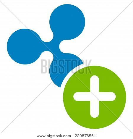 Ripple Add flat vector icon. An isolated ripple add pictogram on a white background.