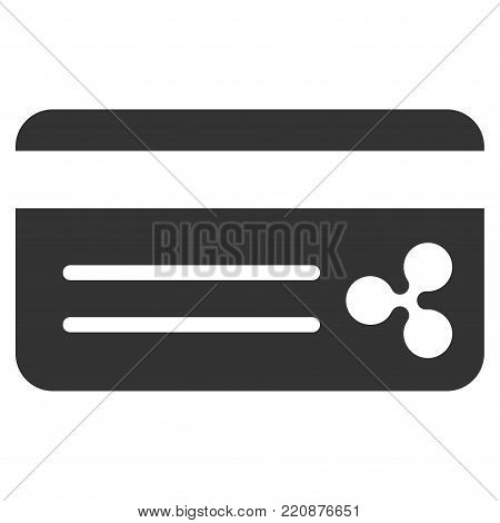 Ripple Bank Card flat vector icon. An isolated ripple bank card pictograph on a white background.