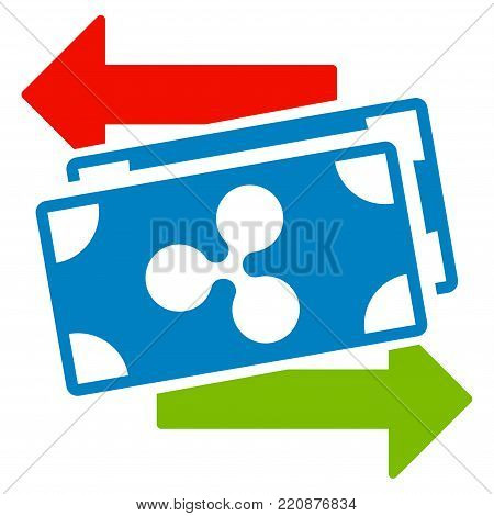 Ripple Banknotes Exchange flat vector icon. An isolated ripple banknotes exchange illustration on a white background.