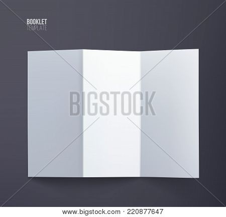 Booklet template. Vector vertical booklet spread mock up isolated on dark background