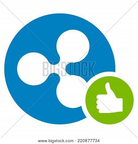 Ripple Coin Thumb Up flat vector icon. An isolated ripple coin thumb up design element on a white background.