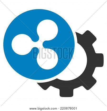 Ripple Configuration Gear flat vector icon. An isolated ripple configuration gear pictogram on a white background.