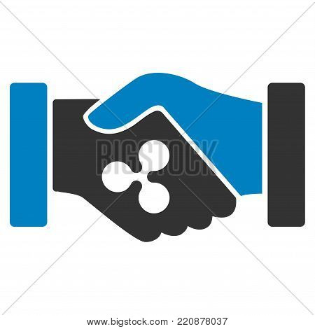 Ripple Contract Hands flat vector icon. An isolated ripple contract hands design element on a white background.