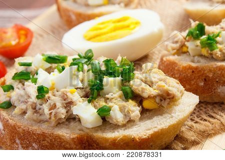 Sandwiches Or Baguette With Mackerel Or Tuna Fish Paste On Plate, Healthy Nutrition Concept