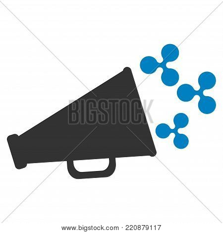 Ripple Megaphone flat vector icon. An isolated ripple megaphone pictograph on a white background.