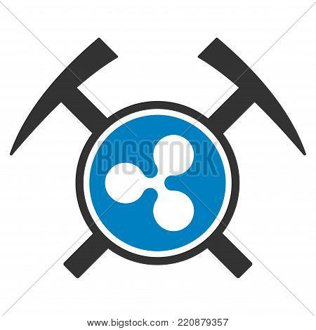 Ripple Mining Hammers flat vector icon. An isolated ripple mining hammers pictograph on a white background.