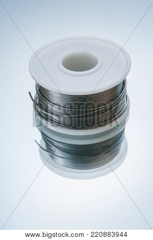 solder for electronics on white background. auxiliary product for welding in microelectronics creation