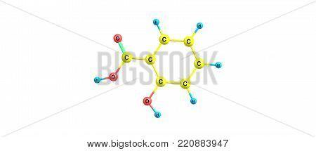 Salicylic Acid Molecular Structure Isolated On White