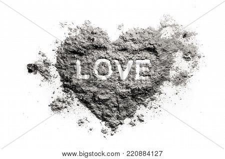 Love heart drawing in ash, sand, dust as romantic emotion or broken feeling conccept, emotional pain, danger, fire
