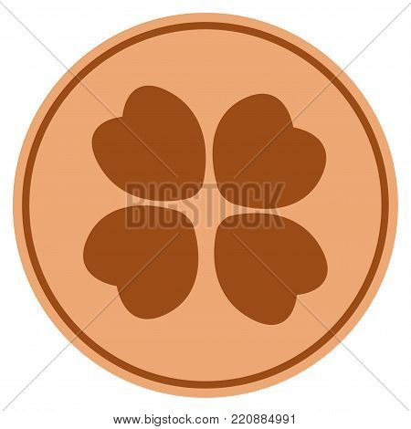 Four-Leafed Clover bronze coin icon. Vector style is a copper flat coin symbol.