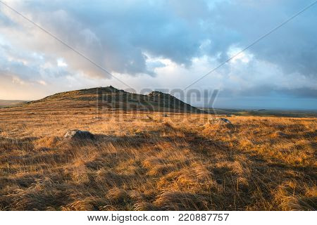 Roughtor At Sunrise And Cloudy Sky, Bodmin Moor, Cornwall, Uk